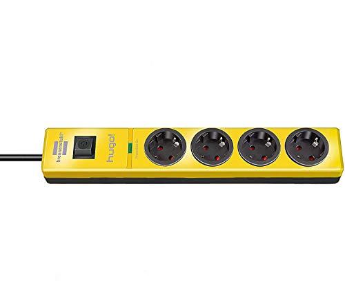 Brennenstuhl Hugo! 19500A Überspannungsschutz Steckdosenleiste 4-Fach, bunt,stylisch, Farbe: gelb