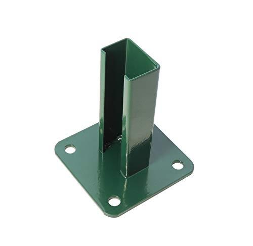 Bodenplatte, grün RAL 6005 / anthrazit RAL 7016, 125x125mm für 60x40 mm Pfosten Doppelstabmatten- Stabmattenzaun (grün - RAL 6005)