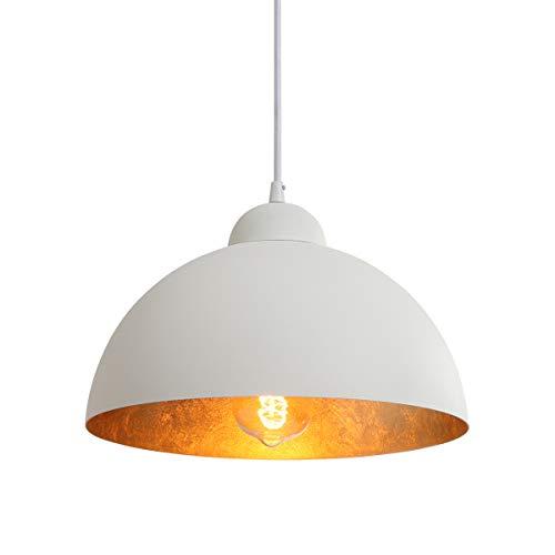 """NEWSEE Pendelleuchte Vintage Lampen Hängeleuchte Weiß-Gold (white) 12"""" E27 für Max 60W Industrielle Lampe Esstisch Deko Wohnzimmer Retro Lampe"""