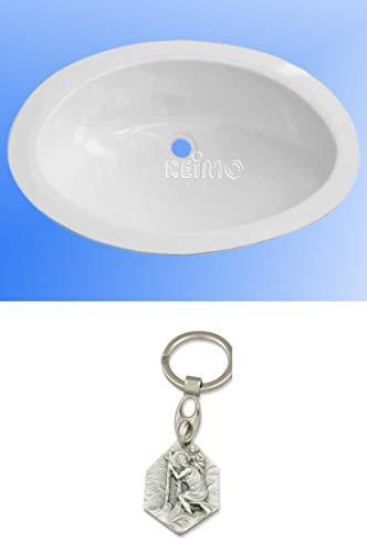 Zisa-Kombi Einlege Waschbecken Oval Maxi, Material Polystrol weiß glänzend (93298864025) mit Anhänger Hlg. Christophorus