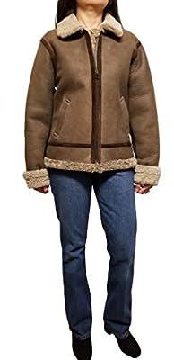 Fourteen Zero Women's Shearling Leather Bomber Jacket (Medium, Light Brown)