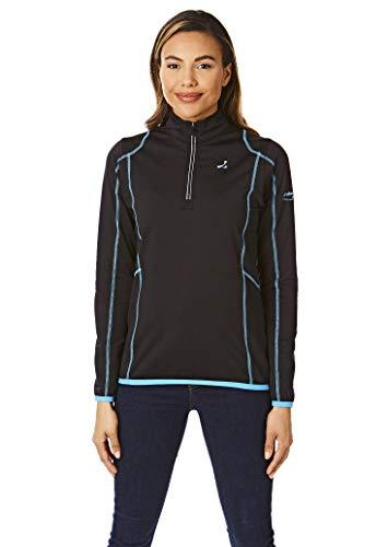Under Par Damen-Golfshirt mit Reißverschluss am Hals, mittlere Schicht, Damen, Golfhemd, UPLMID1746_BLSUM_10, Schwarz/Sommerblau, 36