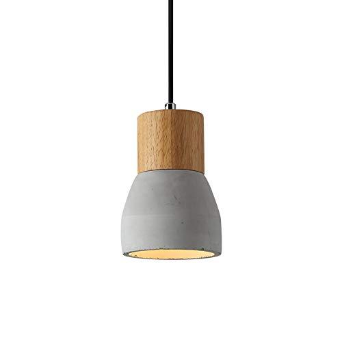 OAKLIGHTING Mini Wooden Pendant Light Retro Cement Ceiling Light Fixtures D 5' X H 7.4' (Gray)