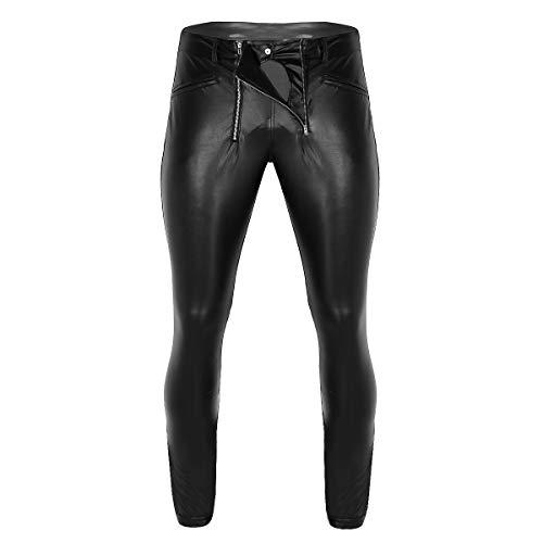MSemis Herren Strumpfhose Wetlook Lederhose Pants Tight Glanz Leggings Leder-Optik Hose Ouvert Panty Unterwäsche mit Reißverschluss Clubwear M L XL Schwarz Medium
