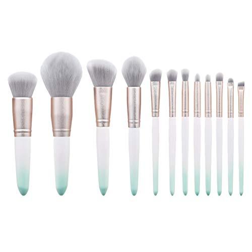 Solustre 12Pcs Bois Et Nylon Pinceaux de Maquillage Professionnels Set Eyeliner Fondation Cache-Cernes Fard à Paupières Cosmétiques Maquillage Kits de Pinceaux