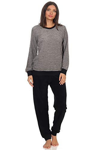 Damen Frottee Pyjama Schlafanzug mit Bündchen in eleganter Streifenoptik - 291 201 13 781, Farbe:grau-Melange, Größe2:36/38