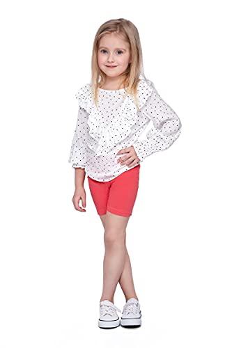 SOFTSAIL Mädchen 1/2 Länge Overknee Baumwolle Leggings Kinder Atmungsaktiv Radhose Fahrrad Tanzen Schule Hose Gr. 12-13 Jahre, korallenrot