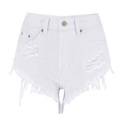 DAIDAICDK Zomer Vrouwen Hoge Taille Shorts Pure Wit Slim Denim Shorts Raw Edge Tassels Ripped Jeans Vrouw Mode Shorts
