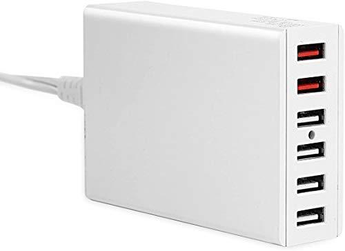 DTK 60W 6 Puertos Cargador USB para Teléfono Móvil Tableta Smartphone, Estación de Carga USB con 2 Puertos QC 3.0(Quick Charge 3.0) & 4 Puertos Qsmart para Samsung Huaiwei Xiaomi y Otras - en Blanco