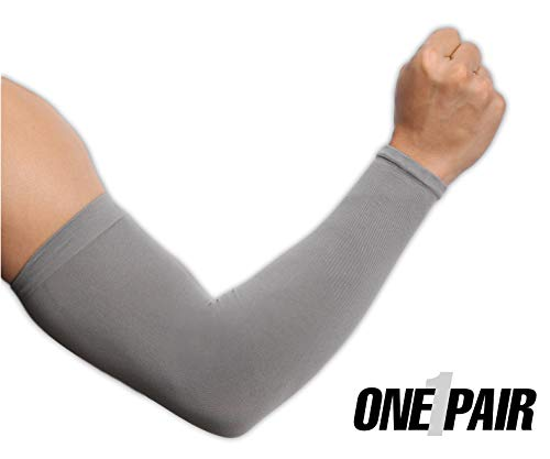 UV Protection Cooling Arm Sleeves - UPF 50 Long Sun Sleeves for Men & Women. Perfect for Cycling, Driving, Running, Basketball, Football & Outdoor Activities. (Dark Gray)