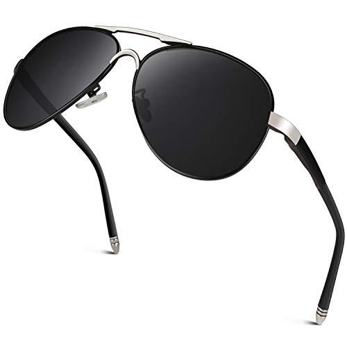 GQUEEN Hombres Premium Gafas de Piloto Estilo Militar Gafas de sol polarizadas Protección UV400 Armazón de metal con bisagras de resorte GQ83