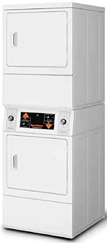 Speed Queen SSEMNAGS173TW01 27'' Inch Commercial Electric Vented Stacked Dryer on Dryer Laundry Center with 14 cu. ft. Capacity, Reversible Side Swing Doors, ADA Compliant, in White