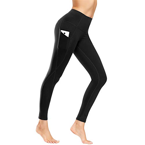 IceUnicorn Damen Leggings Lange Yogahose Sporthose Fitnesshose Laufhose 3/4 Training Tights mit Handytasche(CK.Schwarz, M)