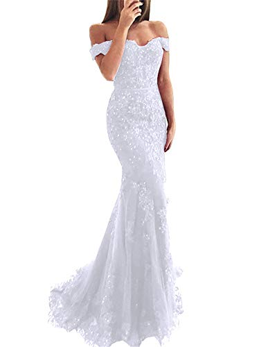 YSMei Lace Mermaid Wedding Prom Dresses Off Shoulder Long Beaded Formal Party Gown White 08