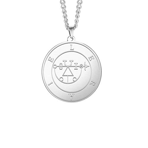 Stainless Steel Pendant Necklace For Men Marquis Lesser Key Of Solomon Seal Talisman Vintage Jewelry