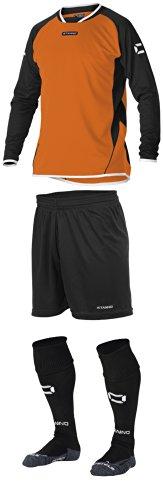 Stanno Porto–Orange/Schwarz Lange Ärmel Fußball, Shirts, Shorts, Socken