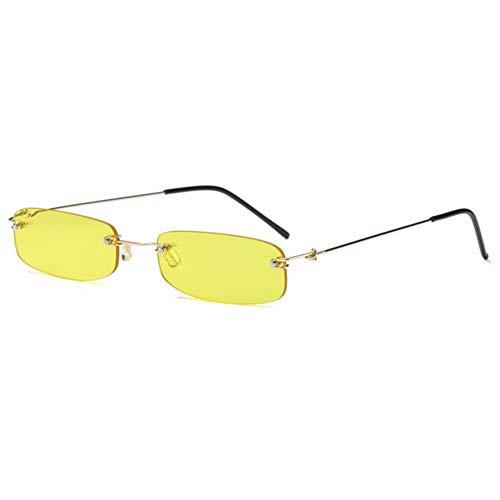 QAZXSW Gafas de SolGafas de Sol rectangulares pequeñas Mujeres Transparentes Naranja Amarillo Gafas Rojas Gafas de Marca de diseñador para Hombre Gafas de Sol sin Montura Lindas