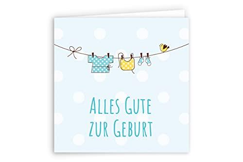 Friendly Fox Karte zur Geburt - Glückwunsch zum Baby - Karte zur Baby Geburt - süße Klappkarte mit Umschlag - Grußkarte Glückwunschkarte zur Geburt Baby Junge
