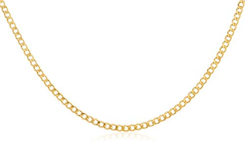 10K Gold 2.0mm Cuban/Curb Link Chain Necklace-Multiple lengths available-Made In Italy (Yellow, 18)