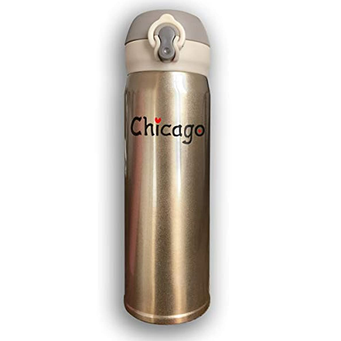 Thermoses Stainless Steel Coffee Mug Love Chicago Travel Mugs for Home Office School Works Car Great for Hot and Cold Drink Free Flip Cap Double Wall - Pink