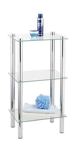 WENKO 15851100 Regal Yago viereckig mit 3 Glasablagen - Badregal, Stahl, 40 x 74 x 30 cm, Chrom