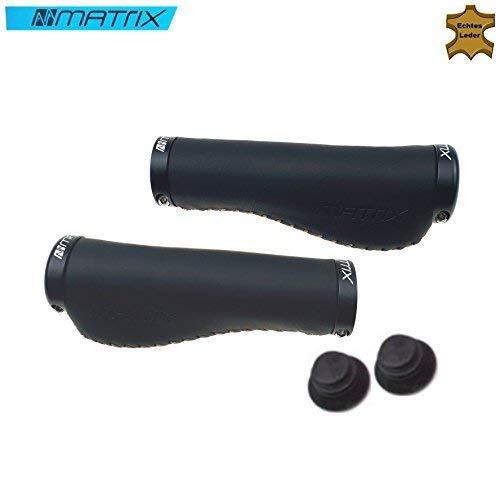 Matrix Lenkergriffe Fahrradgriffe Griffe aus Leder Lang/Lang schwarz