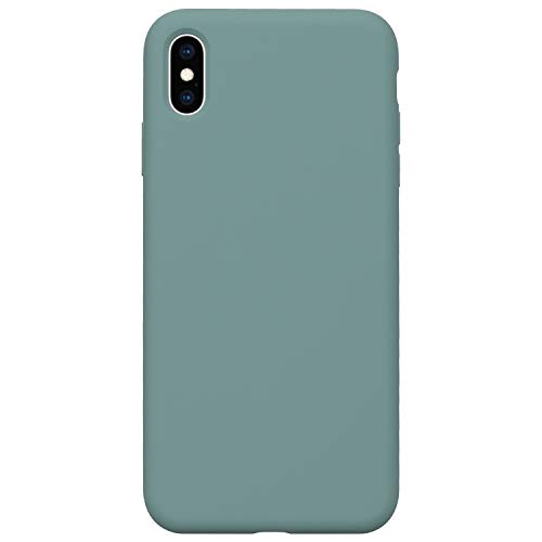 Danbey Silicone Case for iPhone Xs Max, 6.5-inch Display, Liquid Silicone, Matte Surface, Skin Feeling, Charming Solid Color - Spruce Green