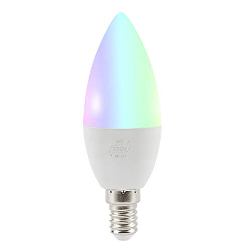 JIUHUIDIAN Bluetooth Mesh Candle Light, intelligente Sprachsteuerungslampe, E14 / E12 RGB-Lampe LED-Leuchten Kompatibel mit Amazon Alexa Echo und Google Home, 4 W [Energieklasse A +]
