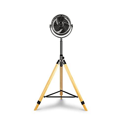 CREATE AIR TRIPOD CLASSIC - Ventilador de pie oscilante con 3 Aspas, Silencioso, 3 Niveles de Ventilación, Regulable y Ajustable 117-130cm, 80W, Trípode Plegable de Madera, Negro