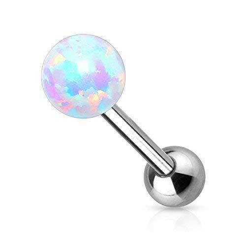Tapsi´s Coolbodyart®| Zungen Piercing Stab Edelstahl Chirurgenstahl 316L 16mm,Opal Weiß