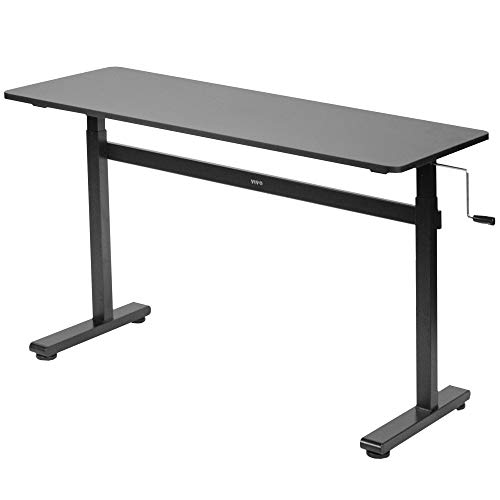 VIVO Height Adjustable 55 x 24 inch Standing Desk | Hand Crank...