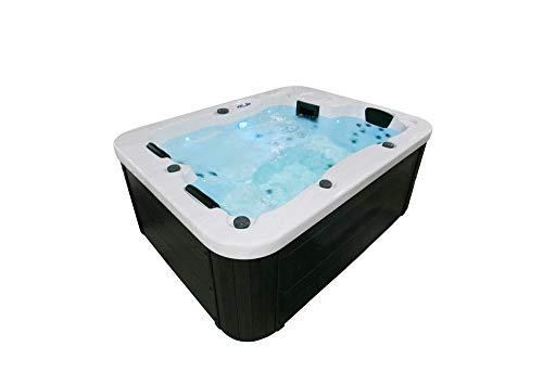 Home Deluxe - Outdoor Whirlpool - White Marble Pure - Maße: 210 x 160 x 85 cm - Inkl. 27 Massagedüsen und 9 Lichtquellen