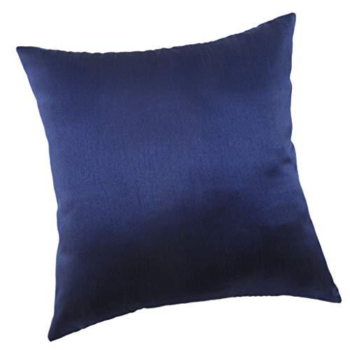 perfk Funda de Almohada de Terciopelo Suave Súper Cómoda - Azul Oscuro_50x50cm, Individual