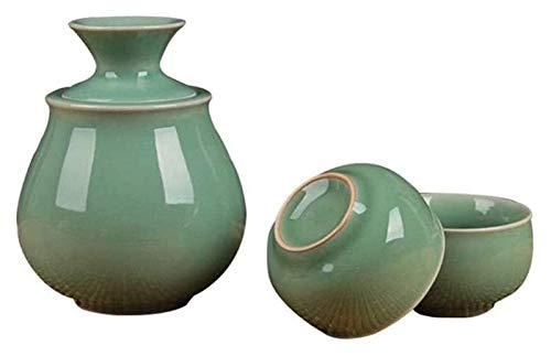 Set de sake Set Japanese Sake Cup Set Ceramic Sake Set, incluyendo 1 pote de sake, 2 tazas de sake, 1 juego de 4 piezas de copa de vino de Celadon para más cálido, usado para frío / calor / shochu / t