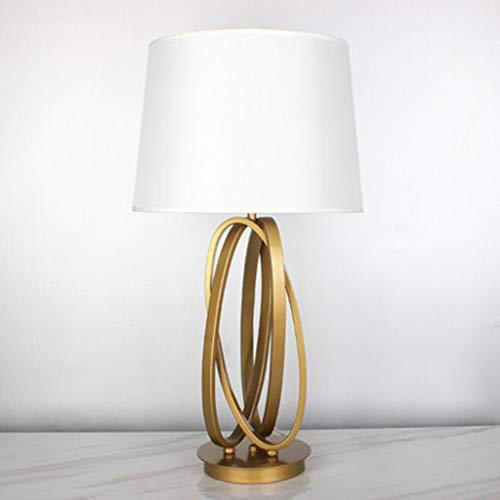 Moderne tafellamp van metaal, lampenkap van linnen, met metalen ring van ijzer, lamp, design kunst, decoratie slaapkamer, tafellamp