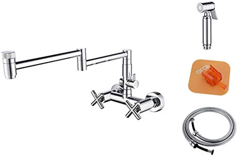 Wasserhahn 360 ° Drehbar Edelstahl Wasserhahn Küchenarmatur Wand-Küchenarmatur Heien Und Kalten Becken Wasserhahn Doppelschalter Spüle Spritzpistole