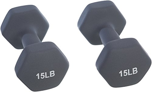 Amazon Basics Neoprene Dumbbell Hand Weights, 10 Pound Each, Navy Blue - Set of 2