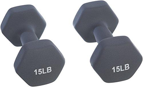 Amazon Basics Neoprene Dumbbell Hand Weights, 15 Pound Each, Dark Grey - Set of 2