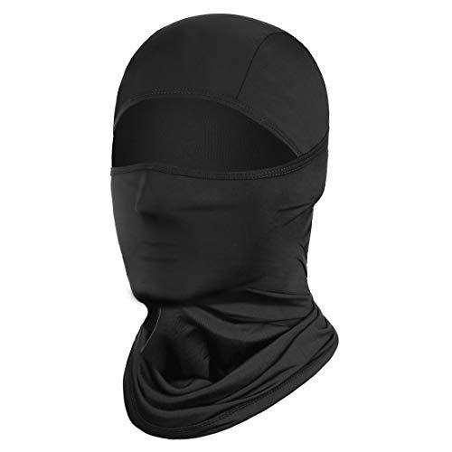 Achiou Balaclava Face Mask UV Protection Ice Silk for Men Women Sun Hood Cycling, Climing, Running Black