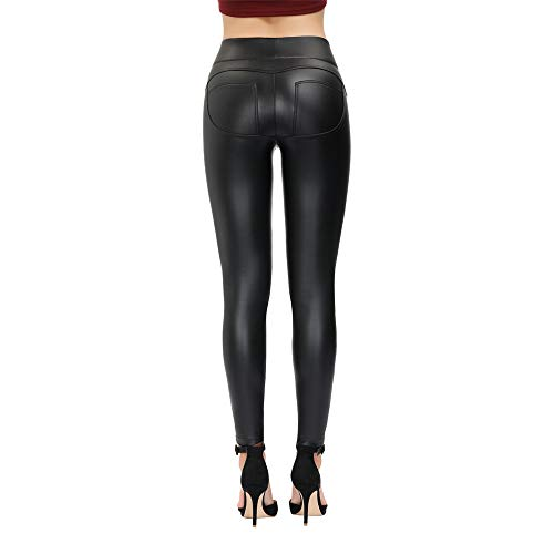 MCEDAR Women's Faux Leather Leggings Plus Size Girls High Waisted Sexy Skinny Pants … (Black #4, 3XL)