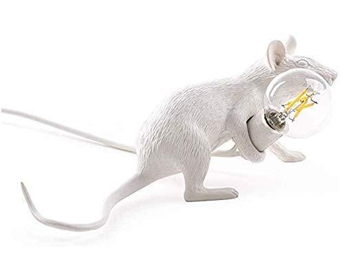 Lámpara colgante Ratón blanco Creativo LED Luz colgante Sombra de lámpara Decoración de viento industrial Decoración de bricolaje Material de resina Pantalla Soporte de lámpara Candelabro de ratón (Ca