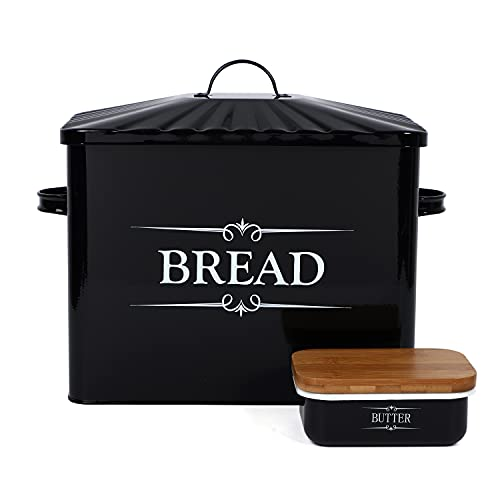 """Houseables Bread Box & Butter Dish for Kitchen Countertop, 15.25"""" x 12.5"""" x 7"""", Black, Extra Large, Metal, Enameled Storage Containers, Food Bin w/Lid, Rustic Enamelware, Farmhouse, Counter Keeper"""