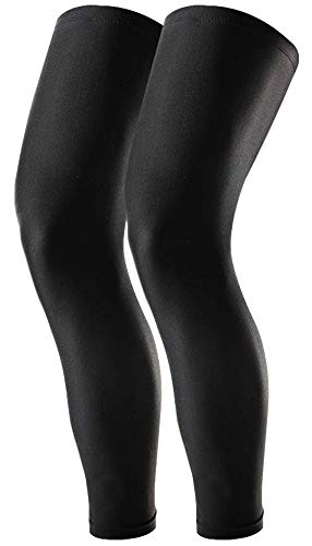 Compression Leg Sleeves - Basketball Leg Sleeves for Men, Women & Youth - UPF 50 UV Protection Full Length Long Leg Sleeves for Football, Running, Volleyball, Cycling & Other Athletic Outdoor Sports