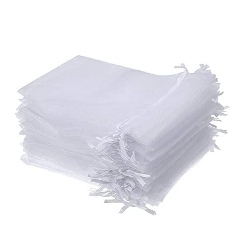 OMMO LEBEINDR Bolsas Organza del Lazo De Organza Bolsas De Regalo 50pcs Duraderos del Banquete De Boda del Favor Bolsas Reutilizables Bolsas De La Joyería, White
