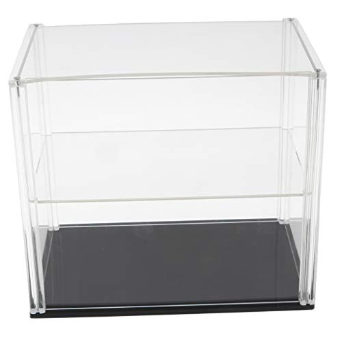 simhoa 9.1x5.9x7.9 Inch Display Case Box, Double-Deck Dustproof Showcase, Character Anime Doll Storage Case Acrylic ABS Plastic Transparent Clear Black