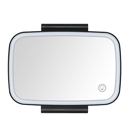 KKmoon Car Sun Visor Mirror with LED Lights,Makeup Sun-Shading Cosmetic Mirror, Clip-on Automobile Vanity Mirror Rechargeable with Dimmable Touch Screen,Black