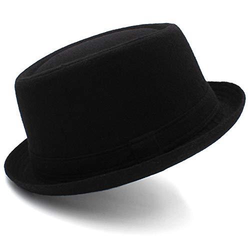 Duyani Sombrero de lana negro salvaje Sombrero de Fedora Sombrero de jazz Sombrero de pastel de cerdo de caballero Versión coreana del sombrero de cúpula británico de tapa plana Otoño e invierno Mujer