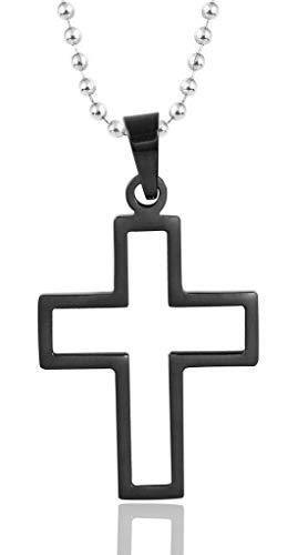 ANAZOZ roestvrij stalen halsketting dames ketting hanger holle kruis crucifix rood zwart