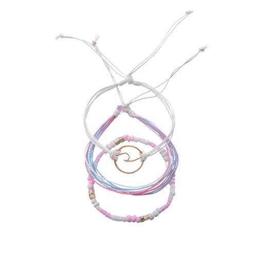 Pulsera vintage de onda rosa tejida a mano elegante multicapa pulsera de lujo encantadora atractiva joyería de las mujeres belleza