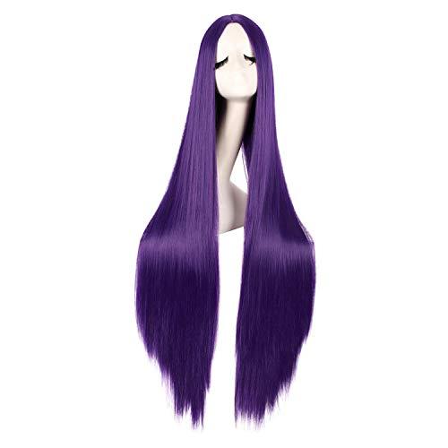 MapofBeauty 40 Inch/100cm Fashion Straight Long Costume Anime Cosplay Wig (Dark Violet)